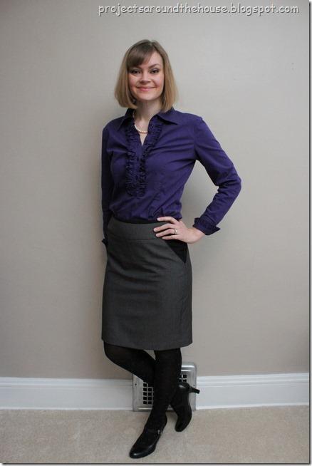 purple shirt, grey pencil skirt