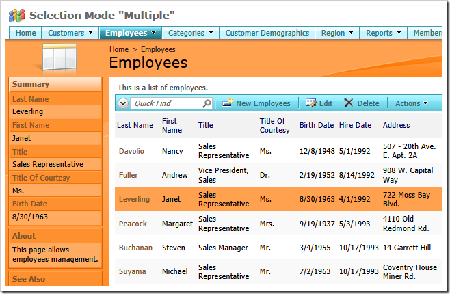 Employees data view with the 'Selection Mode' set to 'Single'.