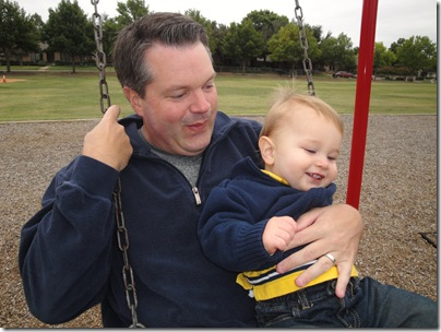 1.  Daddy and Knox swinging