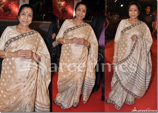 Asha_Bhosle_Tan_Silk_Saree