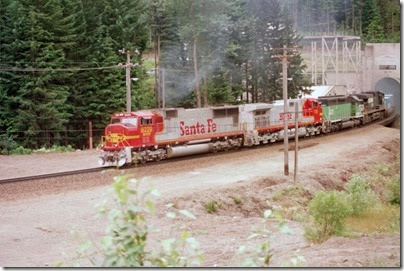 259160219 BNSF SD75M #8229 emerging from the Cascade Tunnel at Berne, Washington in 2002