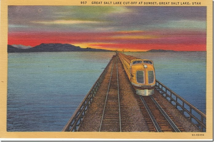 Great Salt Lake Cut-Off at Sunset, Great Salt Lake, Utah Postcard pg. 1 - 1936