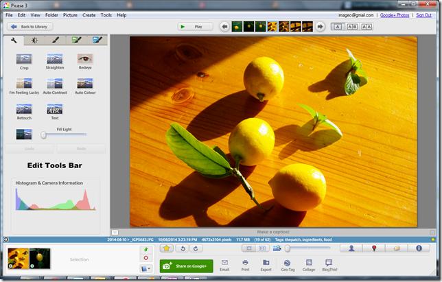 Picasas Single image editing view