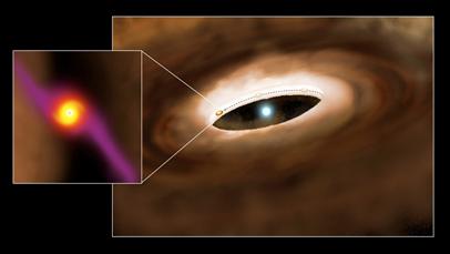 ilustração da estrela HD100546 e do seu disco de gás e poeira