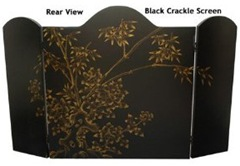 black chinoiserie fireplace screen - back view