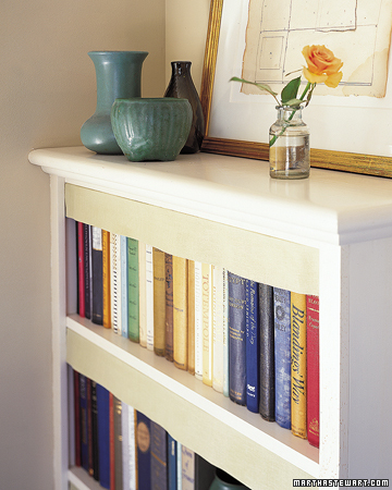 Linen Dust Shields. To protect books from dust, crisp lengths of linen can be hung from shelves. The technique, used in old Swedish libraries, also gives a neat appearance to uneven volumes. To make, measure the length of the shelf, and the distance from the shelf above to the top of the shortest book. Add 1 inch to all sides; cut prewashed linen to this size. Hem bottom and sides by 1 inch. Sew 1-inch-wide twill tape to top edge. Fasten to underside of shelf every 6 inches with upholsterers' tacks or a strip of Velcro.