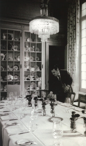 An old photo of the private dining room at La Mirande, Avignon.