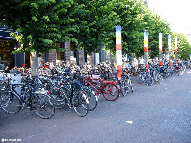 many bicycles in haarlem in Haarlem, Noord Holland, Netherlands