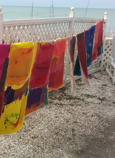 New paintings are hung to dry on a clothes line on a Florida beach. This image is art itself. I love the contrast of the modern, bright paintings against the natural seaside setting.