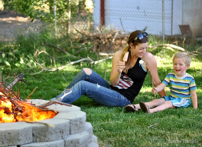 Backyard BBQ with our DIY fire pit