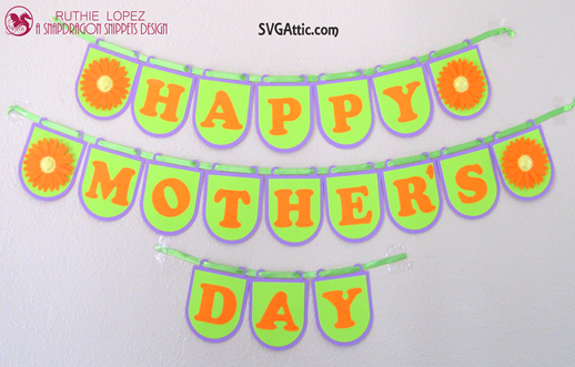 Round Banner - 3D Daisy - Happy Mother´s Day Banner - SnapDragon Snippets - Ruthie Lopez DT