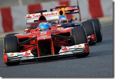 Alonso e Vettel nei test di Barcellona 2012