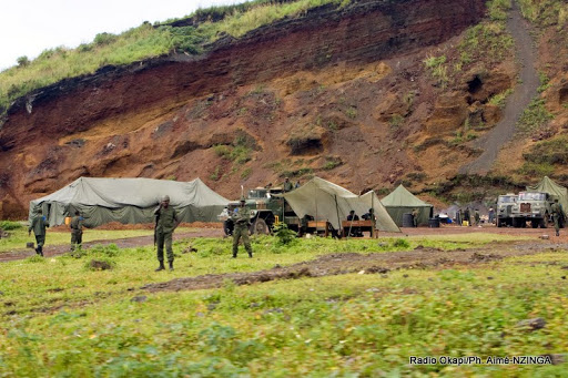 Un campement des FARDC à Kibati Goma, au Nord-Kivu.