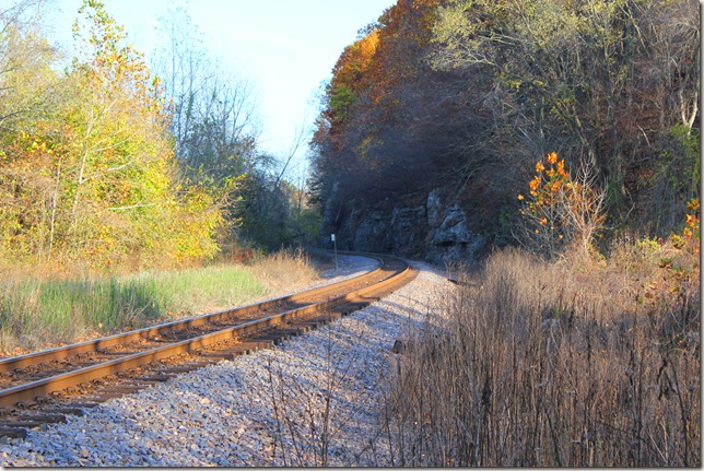 Railroad tracks winding through the Missouri River Bluffs