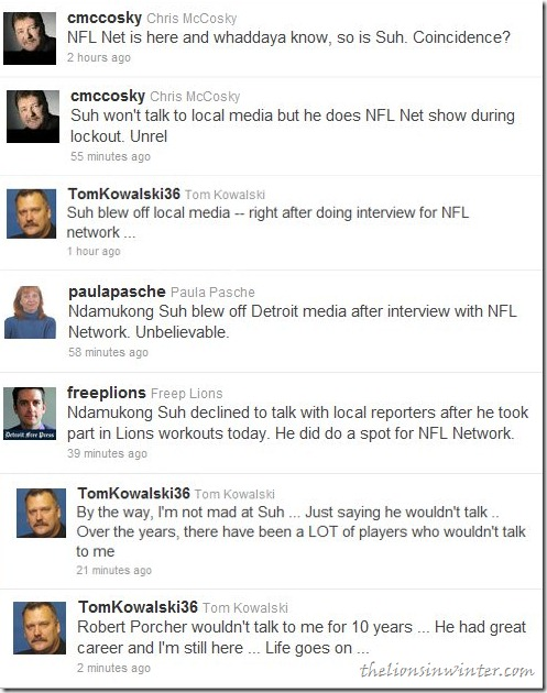 Twitter reactions from Chris McCosky, Paula Pasche, Dave Birkett, and Tom Kowalski after Ndamukong Suh blew off Detroit media on the heels of an NFL Network interview.