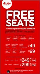 AirAsia FREE SEATS Promotion 2014