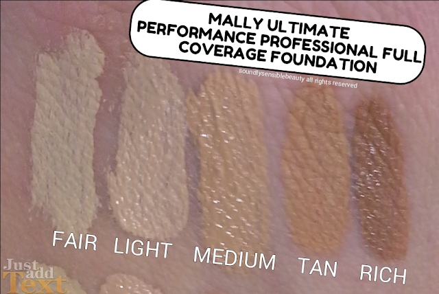 Mally Ultimate Performance Professional Full Coverage Foundation; Review & Swatches of Shades Fair, Light, Medium, Tan, Rich