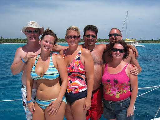 Group shot on catamaran from Saona Island