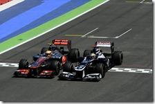 Il duello tra Hamilton e Maldonado nel gran premio d'Europa 2012
