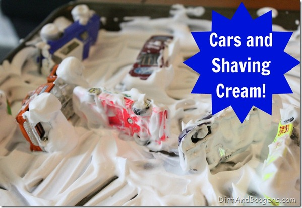 Cars, shaving cream, messy play