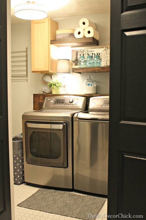 laundry room gray walls light floors