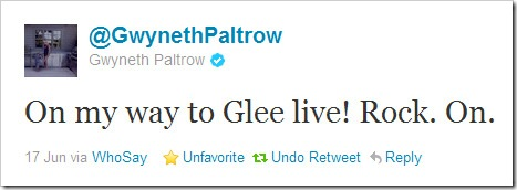 Twitter - @GwynethPaltrow- On my way to Glee live!