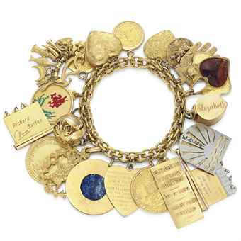 A Charm Bracelet, with 20 assorted charms. Estimate: $25,000-$35,000