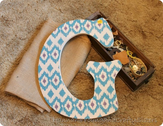 Burlap and Button Monogrammed Letter