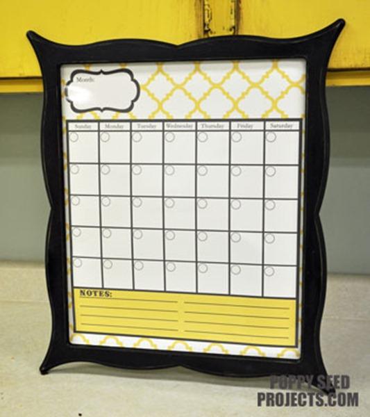 Super-Saturday-Ideas-Dry-Erase-Calendars-yellow-quatrfoil-brooklyn-trim