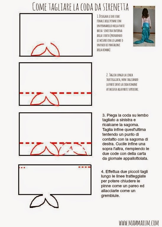 tutorial costume sirenetta ariel fai da te carnevale
