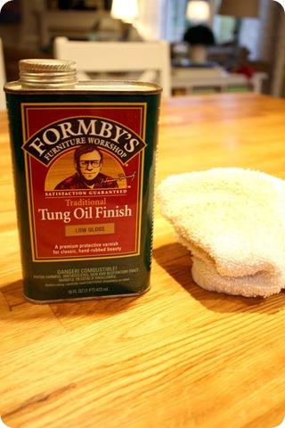 tung oil on butcher block
