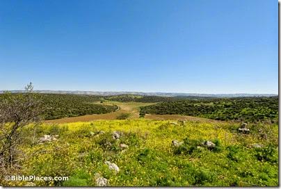 Horvat Burgin view southwest from Achzib, Khirbet Beida, tb030407730