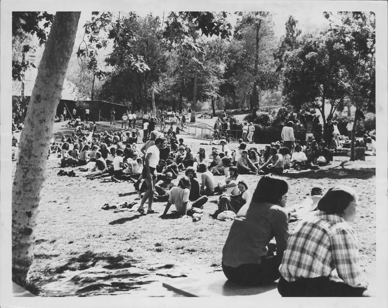 Crowd gathers at the Gay-In at Griffith Park, Circa 1972.