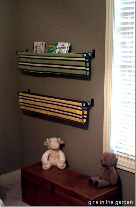hanging book displays Girls in the Garden blog