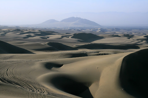 The desert is criss-crossed with buggy tracks, and unfortunately (especially near Huacachina) a bit too much litter. Bit hard for a garbage truck to do the rounds.