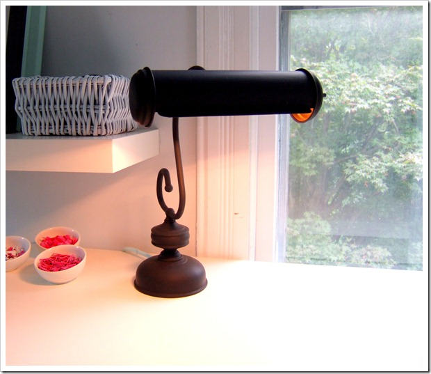 Vintage desk lamp painted black by Little Victorian