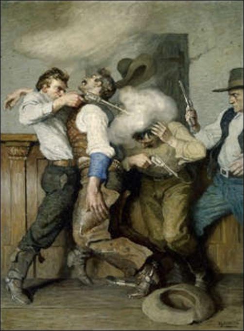 N-C Wyeth, Bagarre au pistolet