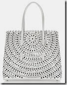 Alaia Laser Cut Perforated Tote in Dove Gray