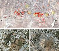 Satellite Images Of Gaza Neighborhood Show Destruction. Satellite imagery shows 600 structures destroyed in Shejaiya neighborhood of #Gaza City. http://trib.al/H3LFH3y