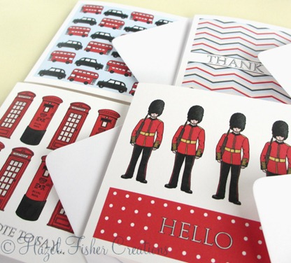 London Calling set of 4 small square note cards 1