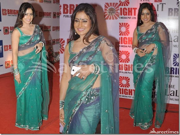 Green_Embrodiery_Net_Saree