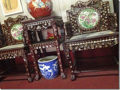 antique shop, Jonker Street, Malacca: Strait Chinese chairs