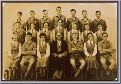 Papakura High School prefects with Arch Campbell, Headmaster, 1957 #2