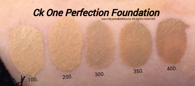 Calvin Klein Ck One All Day Perfection Foundation, SPF 20 Face Makeup; Review & Swatches of Shades  100 Porcelain, 200 Fair, 300 Sand, 350 Warm Sand, 400 Bisque