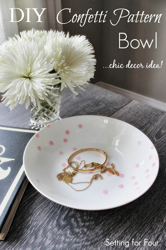 Make an Easy DIY Confetti Pattern Bowl Kate Spade Inspired  #diy #decor