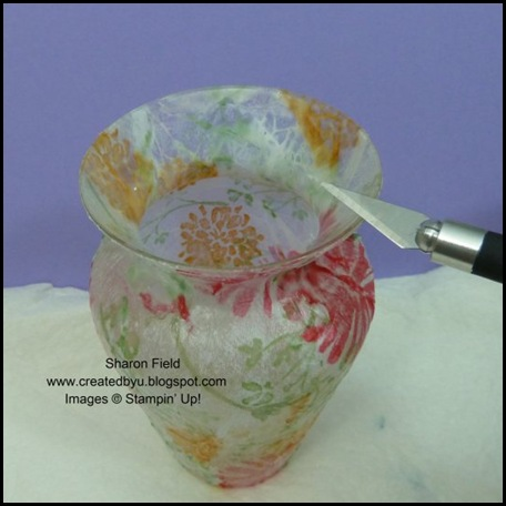 Love and Care, Summer Mini, Super Saturday Tutorial, Sharon Field, Decoupage on Glass, Decoupage Vase, Luminary, Pencil Cup, fathers day, Gift, Birthday, Created By You, Tutorial, Step by Step