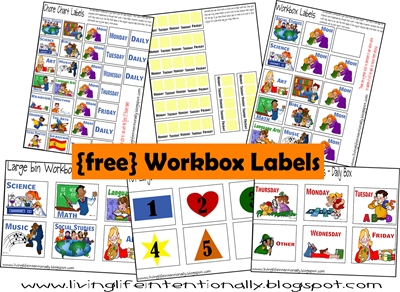 Free printable workbox labels