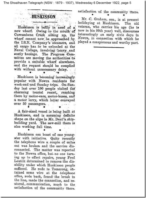 The Shoalhaven Telegraph (NSW : 1879 - 1937), Wednesday 6 December 1922, page 5