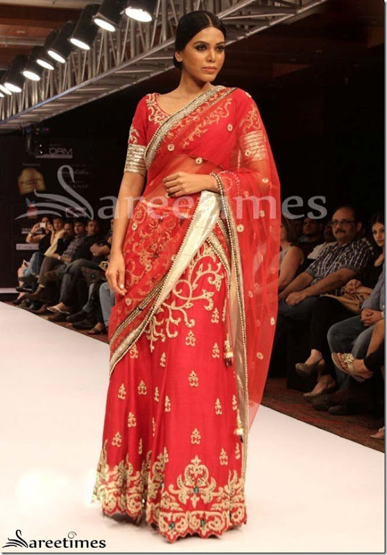 Red_Embroidery_Shimmer_Faux_Georgette_Saree