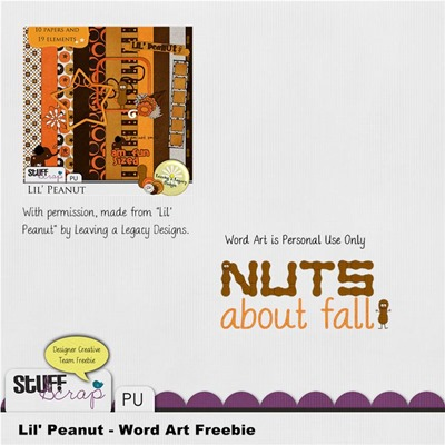 Leaving a Legacy Designs - Lil' Peanut - Nuts about Fall Word Art Freebie Preview